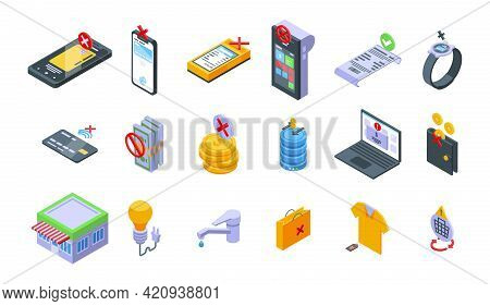 Payment Cancellation Icons Set. Isometric Set Of Payment Cancellation Vector Icons For Web Design Is