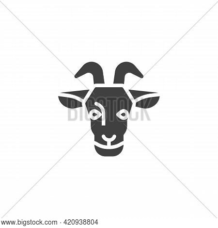 Goat Head Vector Icon. Filled Flat Sign For Mobile Concept And Web Design. Goat With Horns Glyph Ico