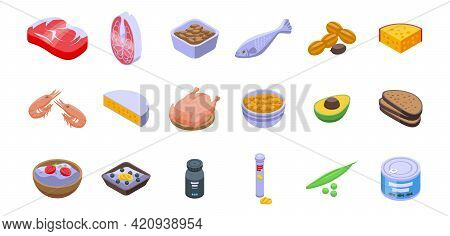 Protein Nutrient Icons Set. Isometric Set Of Protein Nutrient Vector Icons For Web Design Isolated O