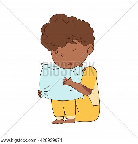 Sleepy Little African American Boy In Pajamas Sitting And Hugging Pillow Vector Illustration