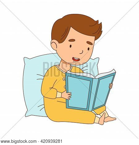 Cute Little Boy Leaning On Pillow Reading Bedtime Story Vector Illustration