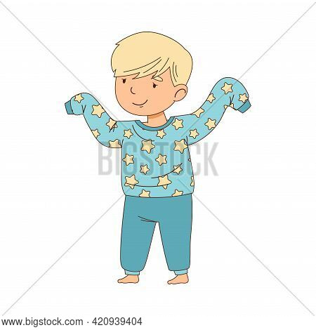 Cute Little Boy Putting On Pajama Getting Ready To Bedtime Vector Illustration