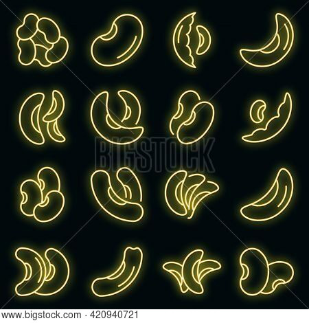 Kidney Bean Icons Set. Outline Set Of Kidney Bean Vector Icons Neon Color On Black