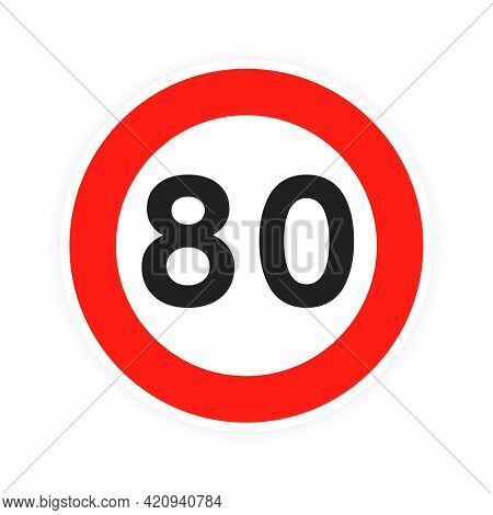 Speed Limit 80 Round Road Traffic Icon Sign Flat Style Design Vector Illustration Isolated On White