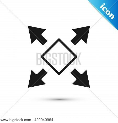 Grey Many Ways Directional Arrow Icon Isolated On White Background. Vector