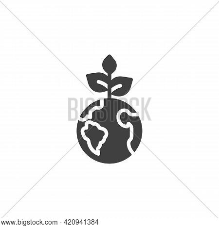 Eco Friendly Planet Vector Icon. Filled Flat Sign For Mobile Concept And Web Design. Earth Planet Wi
