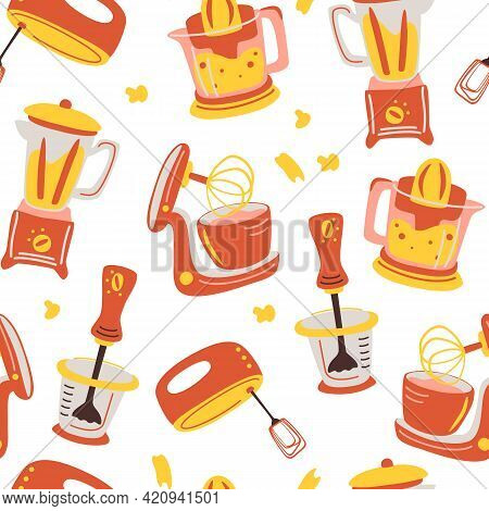 Seamless Pattern With Kitchen Appliances. Household Cooking Tools - Mixer, Juicer, Blender. Househol