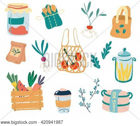Cute Zero Waste Elements. Zero Waste Kitchen. Set Of Doodle Reusable Products: Glass Jar, Eco Grocer