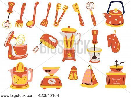 Big Kitchen Utensil Set. Tools And Accessories For Cooking, Baking, Frying. Whisk, Cutlery, Salt, Te