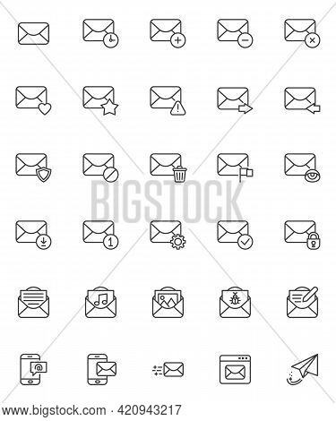 Mail Email Line Icons Set. Linear Style Symbols Collection, Outline Signs Pack. Email Service Vector