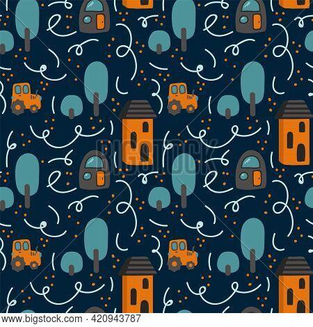 Background Children's Map Of The City. Pattern For Children's Textiles. Cartoon City On Dark Backgro