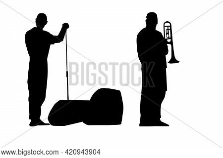 Black Silhouettes Of A Rock Singer With A Microphone Stand In His Hand And A Trumpeter With A Trumpe