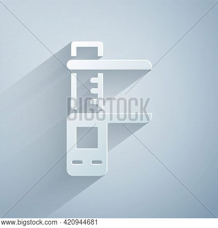 Paper Cut Calliper Or Caliper And Scale Icon Isolated On Grey Background. Precision Measuring Tools.
