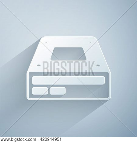 Paper Cut Optical Disc Drive Icon Isolated On Grey Background. Cd Dvd Laptop Tray Drive For Read And