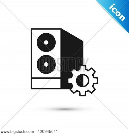 Grey Case Of Computer Setting Icon Isolated On White Background. Computer Server. Workstation. Adjus