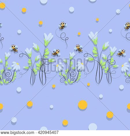 Bees Swarming. Swarm. Chamomile Vector Background, Pattern. World Bee Day. Honey Bees Fly.
