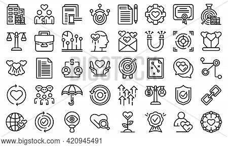 Trust Relationship Icons Set. Outline Set Of Trust Relationship Vector Icons For Web Design Isolated