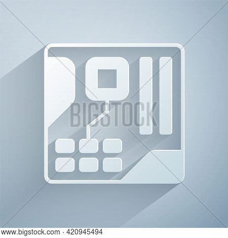 Paper Cut Electronic Computer Components Motherboard Digital Chip Integrated Science Icon Isolated O