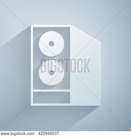 Paper Cut Case Of Computer Icon Isolated On Grey Background. Computer Server. Workstation. Paper Art