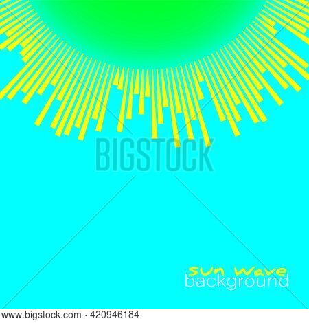 Bright Sun Rays Wave On Blue Background. Beautiful Equalizer Sunbeams Banner. Vector Sunny Sunshine