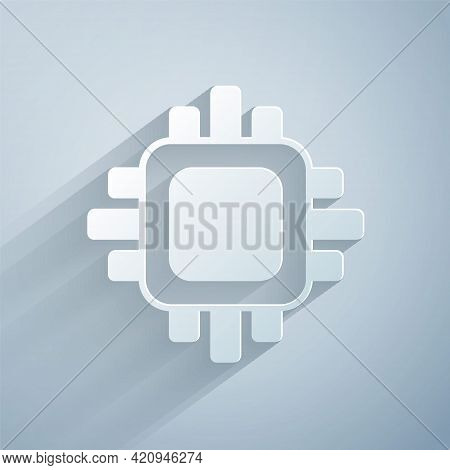 Paper Cut Computer Processor With Microcircuits Cpu Icon Isolated On Grey Background. Chip Or Cpu Wi