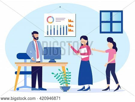 Vector Illustration Of Hr Employee Orientation With Introduction And Integration. Job Description An