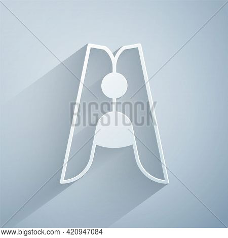 Paper Cut Old Wood Clothes Pin Icon Isolated On Grey Background. Clothes Peg. Paper Art Style. Vecto