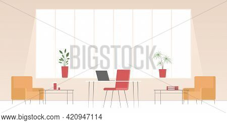 Reception Room With Panoramic Window. Vector Illustration.
