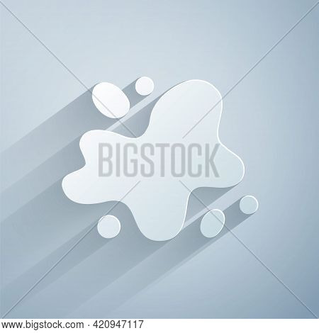 Paper Cut Water Spill Icon Isolated On Grey Background. Paper Art Style. Vector