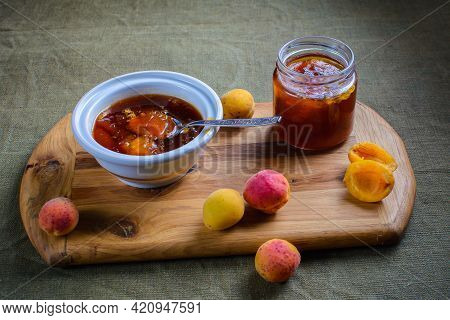 Fresh Apricot Jam Or Jam In A Jar And A Bowl With Fresh Apricots