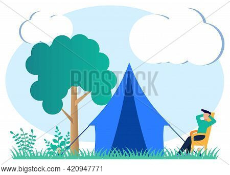 Flat Style Vector Illustration. Glamping, Camping, And Indoor Outdoor Relaxation Activities. An Outd