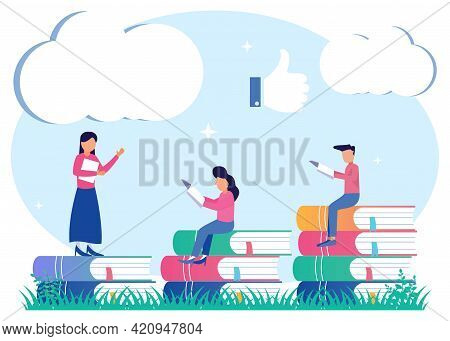 Vector Illustration Of Learning Progress As An Expansion Of The Horizons Of The Educational Concept.