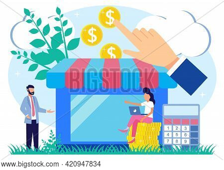Vector Illustration Of Financial Aid In The Concept Of An Entrepreneur In Crisis. The Potential For
