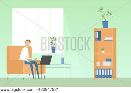 Man Sitting With Laptop In Cozy Home Office. Teleworking. Vector Illustration.