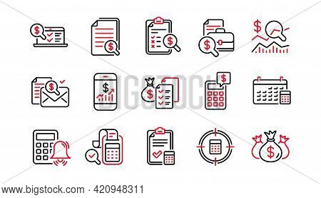 Accounting Line Icons. Report, Calculator And Checklist. Money Linear Icon Set. Linear Set. Quality