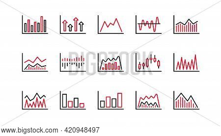 Charts And Graphs Line Icons. Candlestick Graph, Infochart And Report Diagram. Presentation Linear I