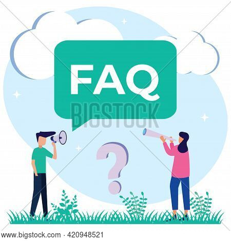 Vector Illustration Of Faq Support As Frequently Asked Questions Helps In Discussion. Answer Custome