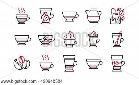 Coffee Types And Tea Icons. Mocha, Cappuccino And Latte. Americano Cup Linear Icon Set. Linear Set.