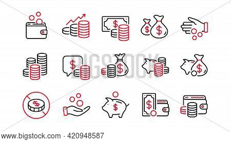Coins Line Icons. Cash Money, Donation Coins, Give Tips Icons. Piggy Bank, Business Income, Loan. Mo