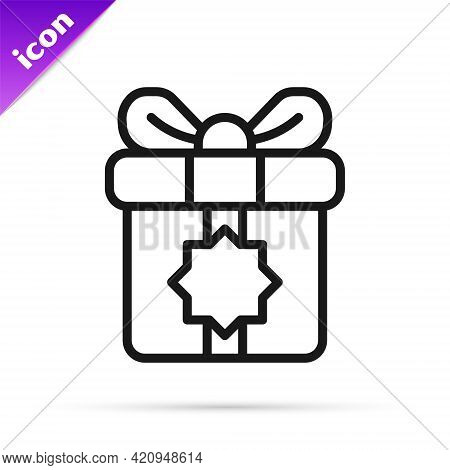 Black Line Gift Box Icon Isolated On White Background. Holy Month, Ramadan, Christmas Present Wrappe