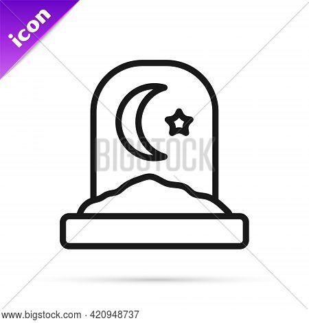 Black Line Muslim Cemetery Icon Isolated On White Background. Islamic Gravestone. Vector