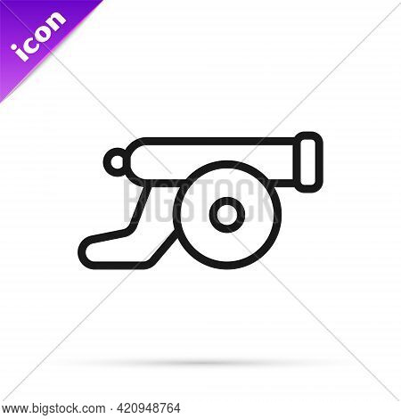 Black Line Ramadan Cannon Icon Isolated On White Background. Vector