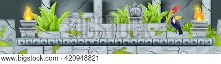 Stone Seamless Game Border, Vector Jungle Cartoon Rock Temple Ruin Background, Toucan, Column, Fire.