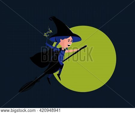 Little Cute Witch Flies On A Broomstick On A Full Moon. The Girl Is Wearing A Halloween Costume, Hat