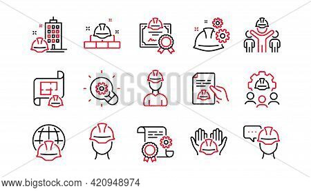 Engineering Line Icons Set. Teamwork, Technical Documentation And Peopl. Blueprint With Gear, Engine