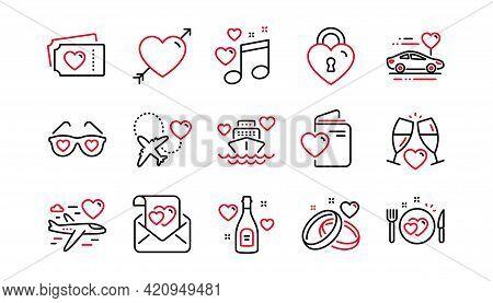 Honeymoon Line Icons Set. Wedding Car, Marriage Rings, Love. Valentine Heart, Bridal Champagne Icons