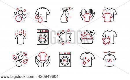 Laundry Line Icons. Dryer, Washing Machine And Dirt Shirt. Laundromat, Hand Washing, Laundry Service
