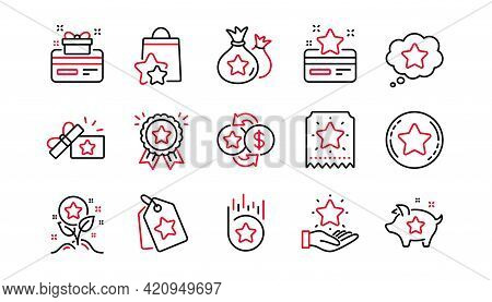 Loyalty Program Line Icons. Bonus Card, Redeem Gift And Discount Coupon Signs. Lottery Ticket, Earn