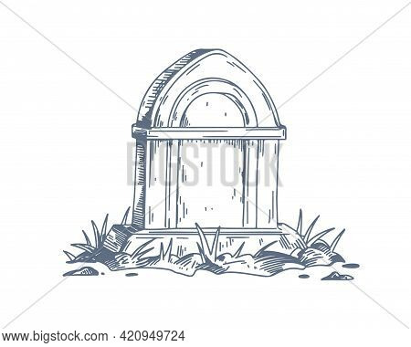 Tombstone Of Unmarked Vintage Grave. Gravestone Of Medieval Tomb With Grass. Cemetery Burial Hand-dr