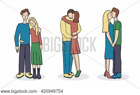 Romantic Couples. A Set Of Cute Vector Characters. Young Guy And Girl In Love And Hugging. A Scene O